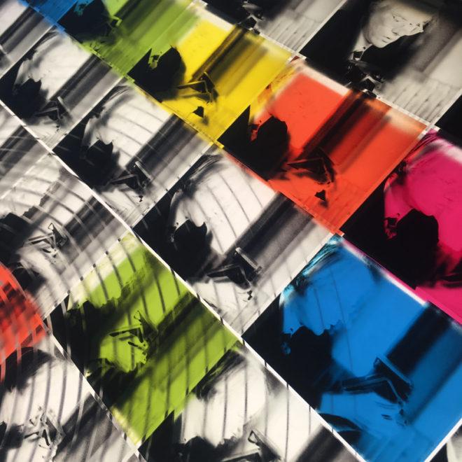 Mini-Cinema Lightbox - Warhol Shooting Polaroids 58x23 Grid - Light Art by Hugo Cantin