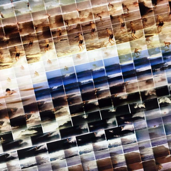 Mini-Cinema Lightbox - Mondo Mod Surf 14x58 Grid - Light Art by Hugo Cantin