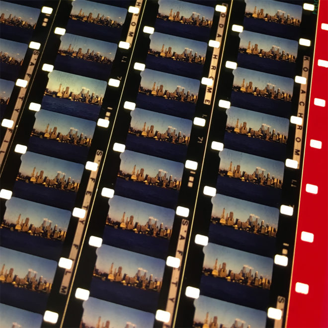 New York City Skyline 1961 - 16mm Film Collage - 12x18 Led Lightbox