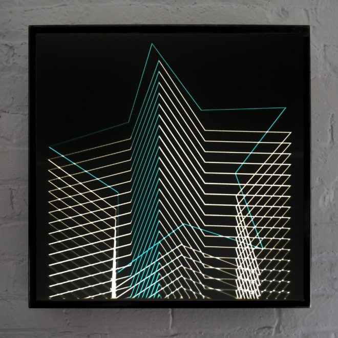 Blue Star - Graphic Line Art Optical Illusion – 20×20 Lightbox - Light Art by Hugo Cantin