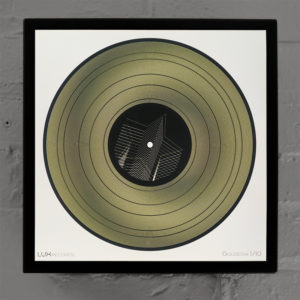 """12"""" Lux Record Goldstar - Graphic Line Art Optical Illusion – 14×14 Lightbox - Light Art by Hugo Cantin"""