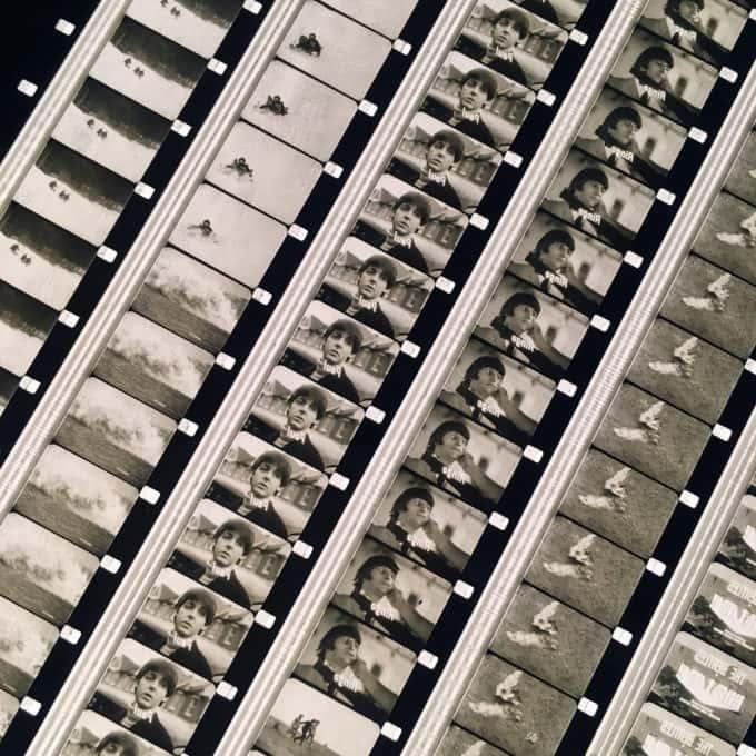 The Beatles 1965 Help! Musical Trailer - Rare 16mm Film Collage - 18x18 Lightbox by Hugo Cantin / Mini-Cinema