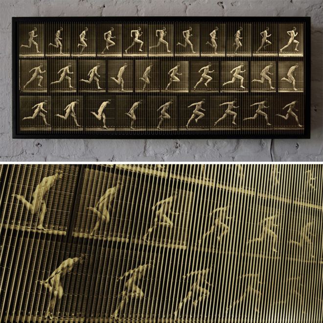 Muybridge Man Running Animation Cycle - Op Art 14x36 Lightbox by Mini-Cinema