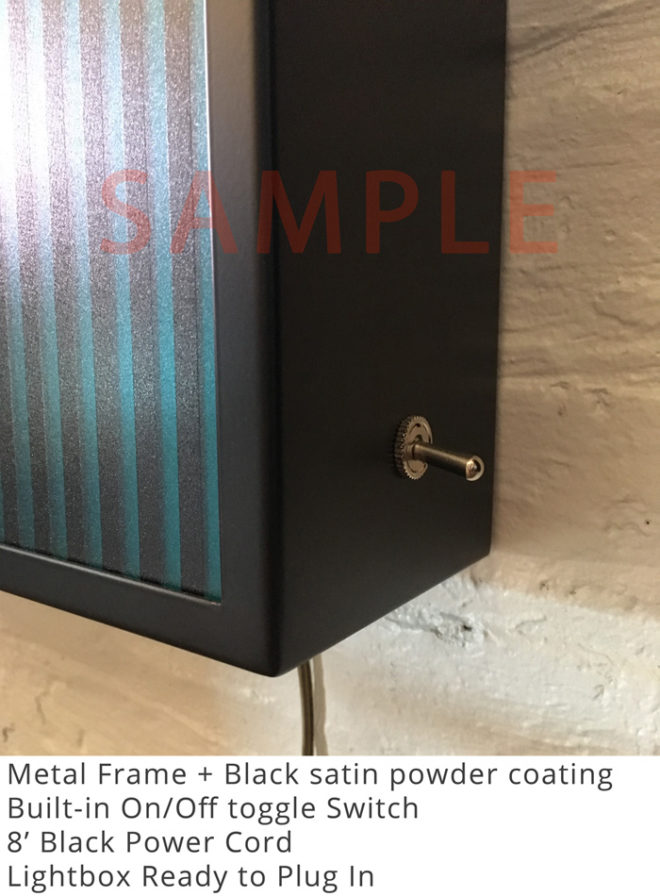 Black Metal Frame and Toggle Switch Sample Lightbox