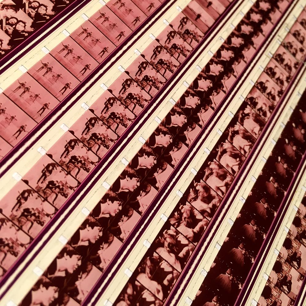 Braverman Mix Beatles History - 16mm Film Collage - 58x22 Led Lightbox