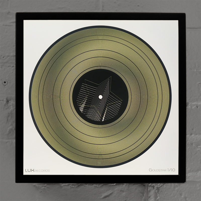 "12"" Lux Record Goldstar - Graphic Line Art Optical Illusion – 14×14 Lightbox - Light Art by Hugo Cantin"