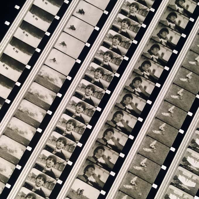 The Beatles 1965 Help! Musical Trailer - Rare 16mm Film Collage - 18x18 Lightbox by Hugo Cantin / Mini-Cinema