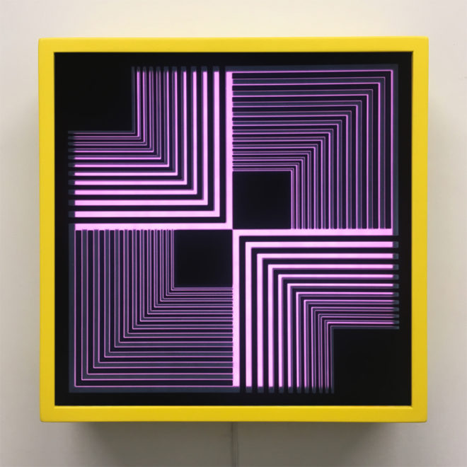 Purple Geometric Vortex 12x12 Lightbox