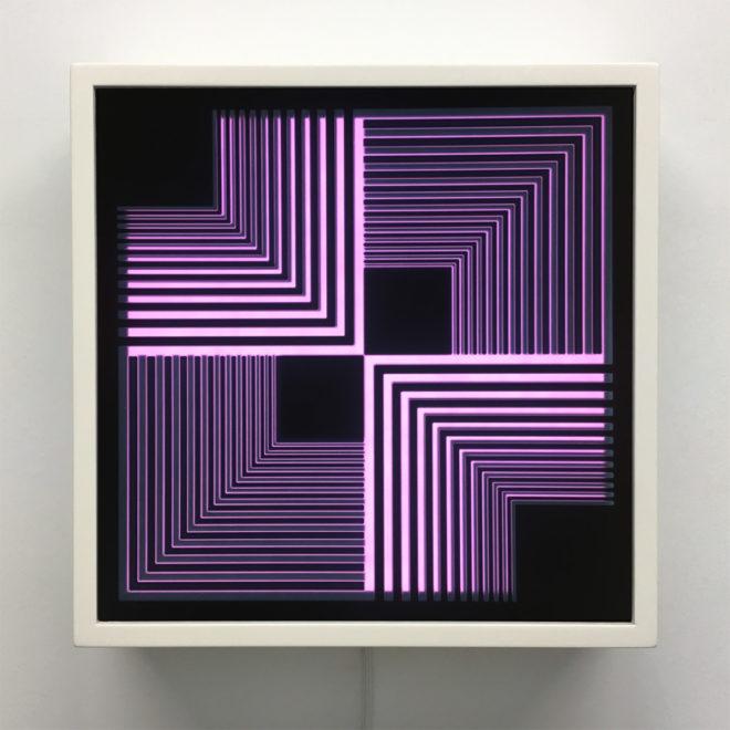 Purple Geometric Vortex - Graphic Art Optical Illusion - 12×12 Lightbox by Mini-Cinema / Hugo Cantin