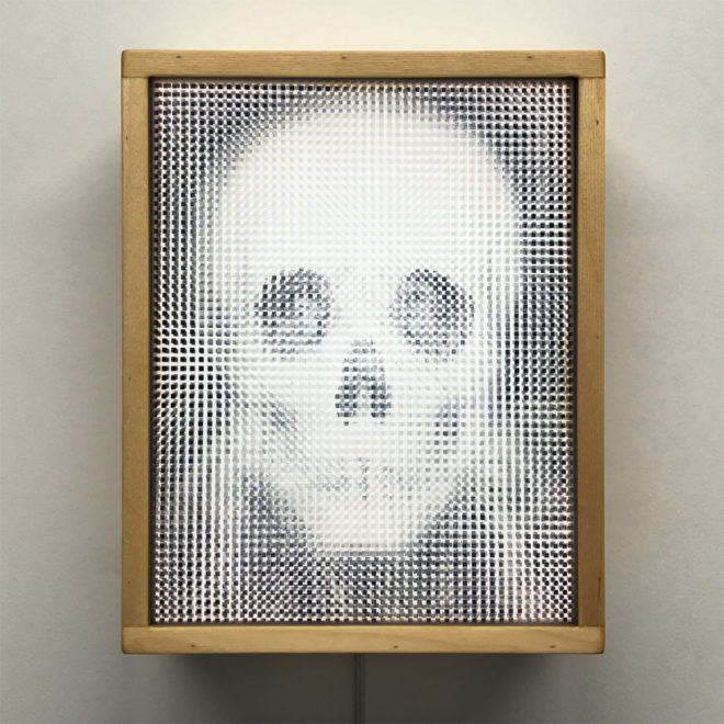 1910s Metamorphic Skull - Pixelated Optical Illusion - 11x9 Lightbox by Mini-Cinema