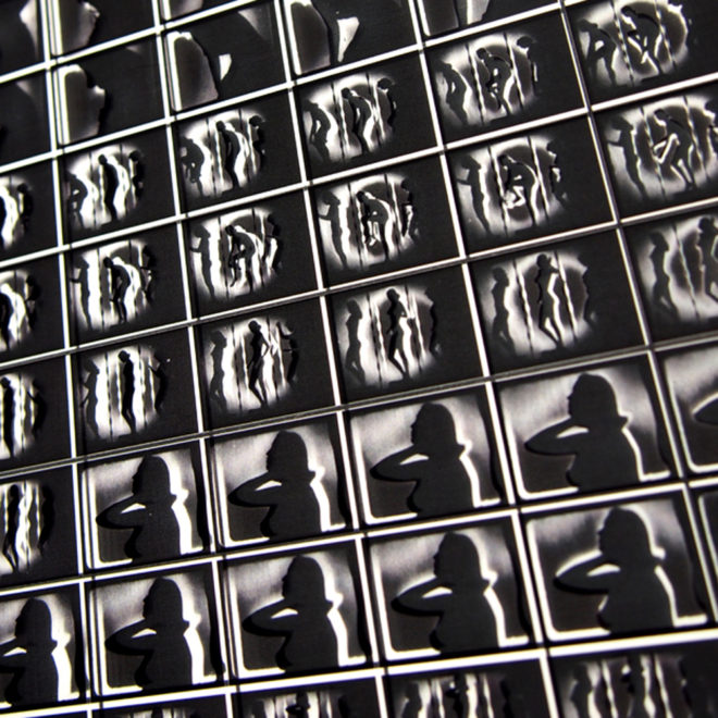 1950s Burlesque Shadowplay Striptease – 11x9 Led Lightbox by Mini-Cinema (Detail)
