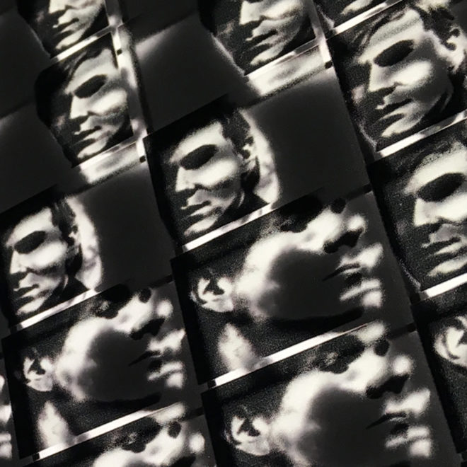 Andy Warhol Portrait – Double Print Optical Illusion – 20x20 Led Lightbox by Mini-Cinema (Detail 1)