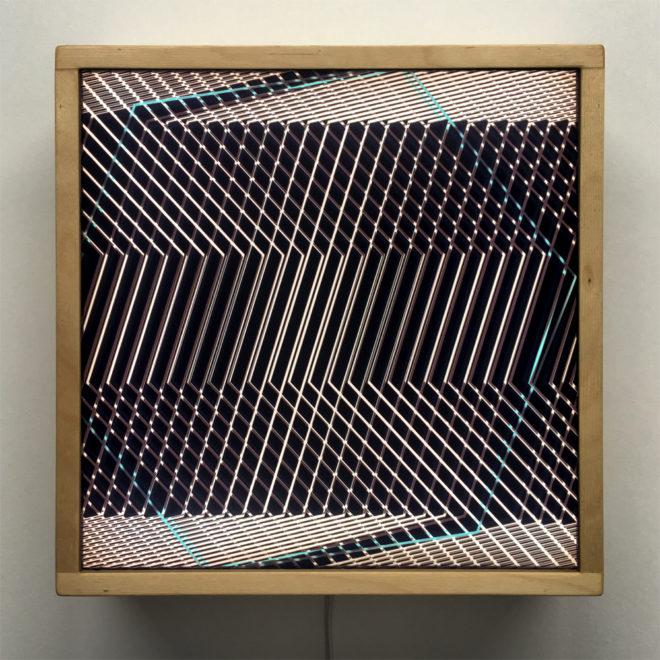 Hidden Blue Hexagon - Abstract Pattern Optical Effect - 12×12 Lightbox by Mini-Cinema