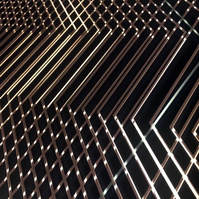 Hidden Blue Hexagon - Abstract Pattern Optical Effect - 12×12 Lightbox by Mini-Cinema (Detail 2)