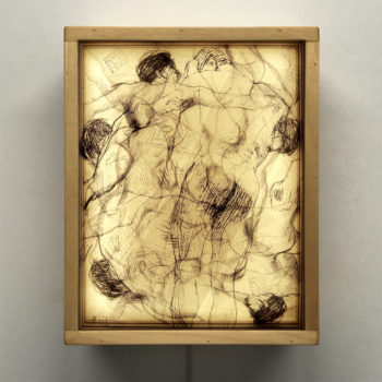 Klimt Sketches - Male Nude Drawings 11x9 Lightbox by Mini-Cinema