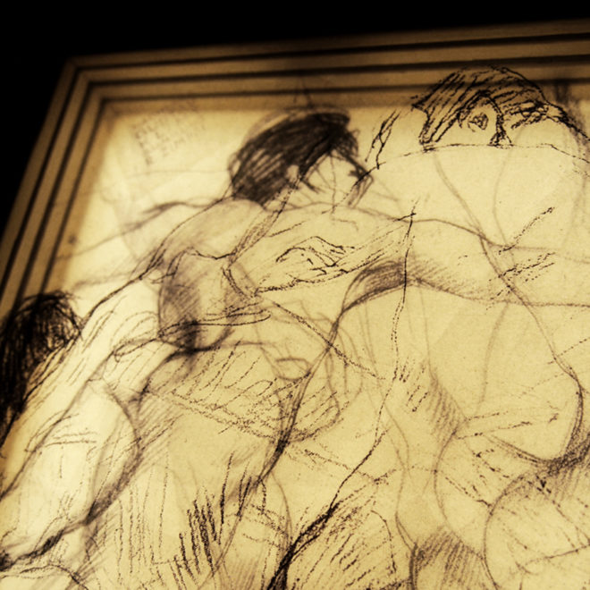 Klimt Sketches - Male Nude Drawings 11x9 Lightbox by Mini-Cinema (Detail)