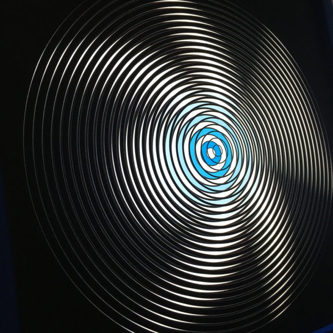 Music Record Blue Side.A - Graphic Line Art Optical Illusion - 12×12 Lightbox