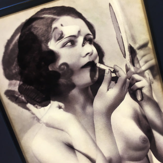 Mirror Girl and Lipstick - 1920s Burlesque Postcard Mashup - 11x9 Lightbox by Mini-Cinema (Detail)