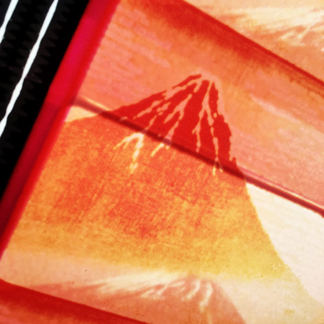 Mount Fuji Hokusai Filmstrip Mashup - 11x9 Led Lightbox by Mini-Cinema (Detail 2)