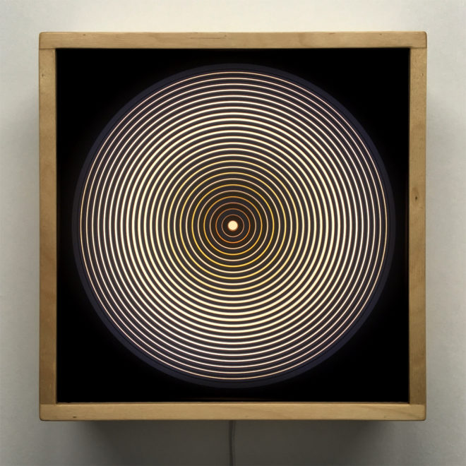 Music Record Yellow Side.A - Graphic Line Art Optical Illusion - 12×12 Lightbox by Mini-Cinema
