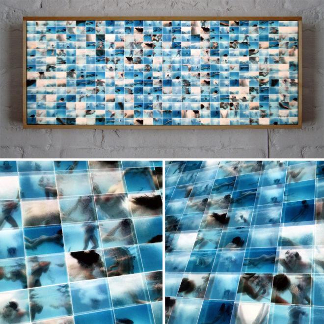 Naturist Pool Party Underwater Fun - 14x36 Led Lightbox by Mini-Cinema