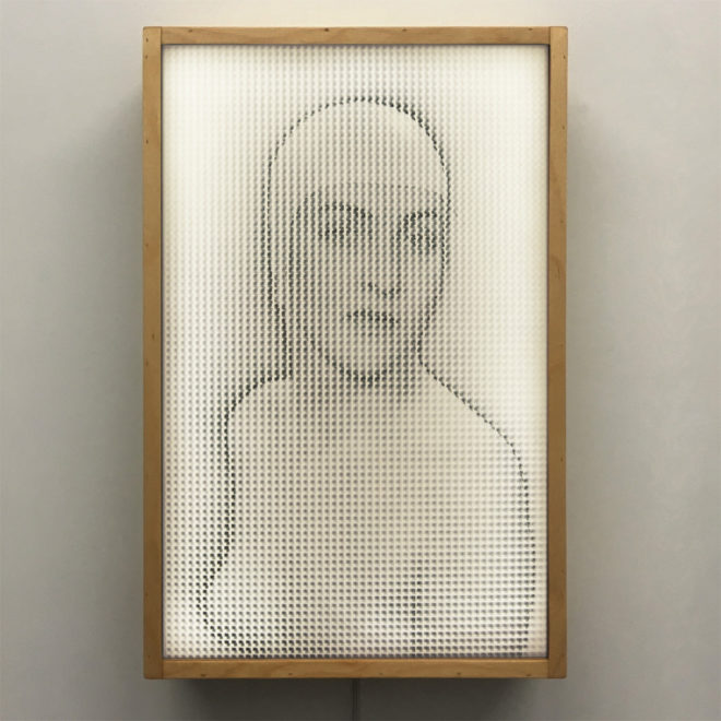 Pixelated Man Ray - 1930s Meret Oppenheim Vanishing Portrait - 18x12 Lightbox by Mini-Cinema v2