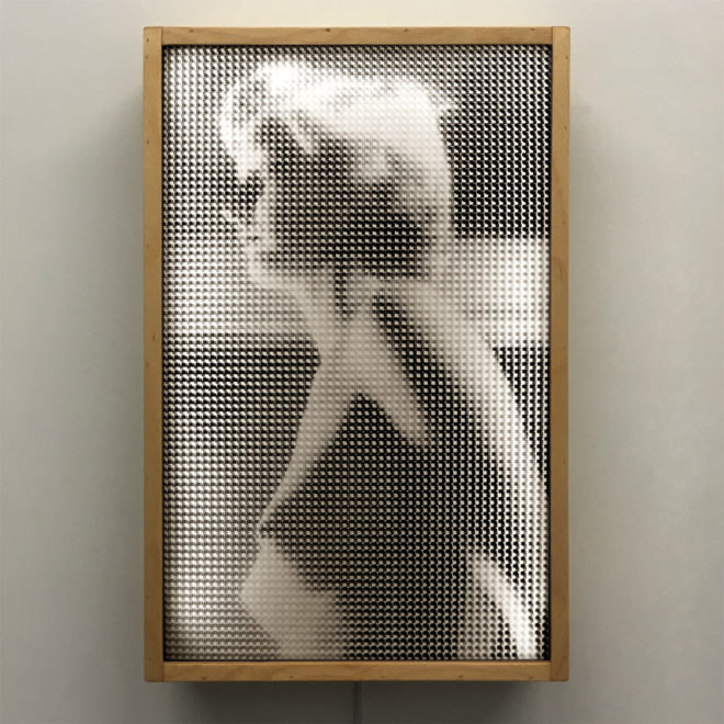 Pixelated Unknown Eerie Girl - 1930s Amateur Vanishing Portrait - 18x12 Lightbox by Mini-Cinema