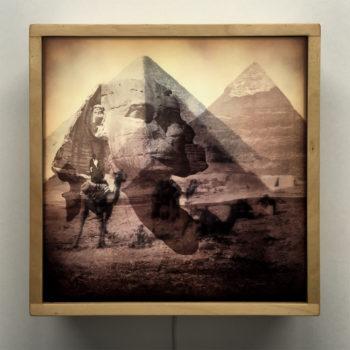 Vanishing Sphinx and Pyramids of Giza Egypt - 12x12 Lightbox by Mini-Cinema