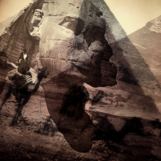 Vanishing Sphinx and Pyramids of Giza Egypt - 12x12 Lightbox by Mini-Cinema (Detail)