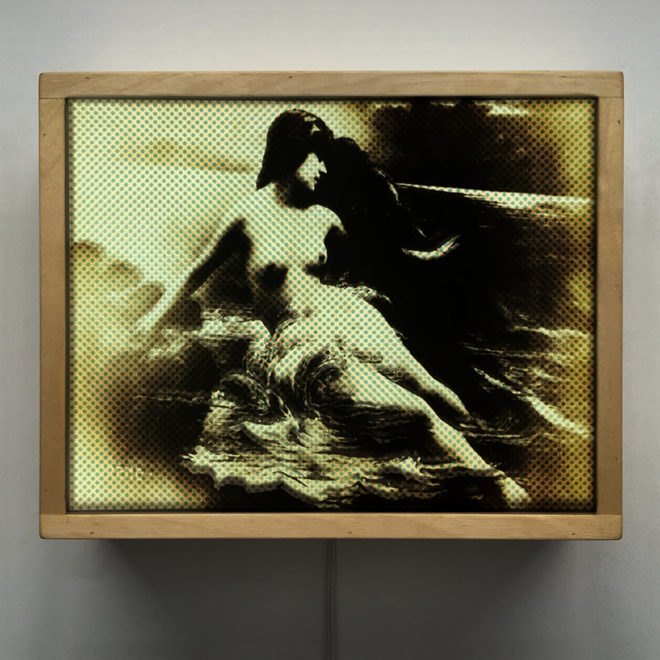 Siren Illusion - 1910s Erotica Halftone Pattern - 9x11 Led Lightbox by Mini-Cinema