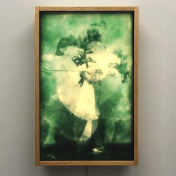Vanishing CanCan Dancer - 1910s Postcards Mashup - 18x12 Lightbox by Mini-Cinema