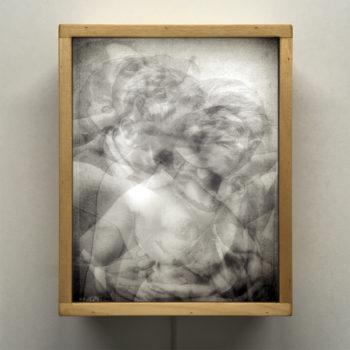 Vanishing Lovers Kiss - Multiple Print Depth Effect - 11x9 Lightbox by Mini-Cinema