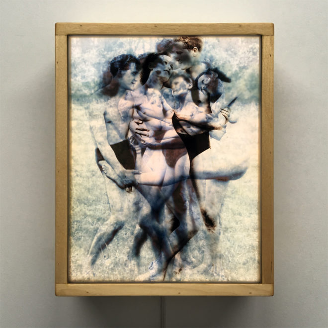 Vanishing Lovers Naturist Romance - Multiple Print Depth Effect - 11x9 Lightbox by Mini-Cinema