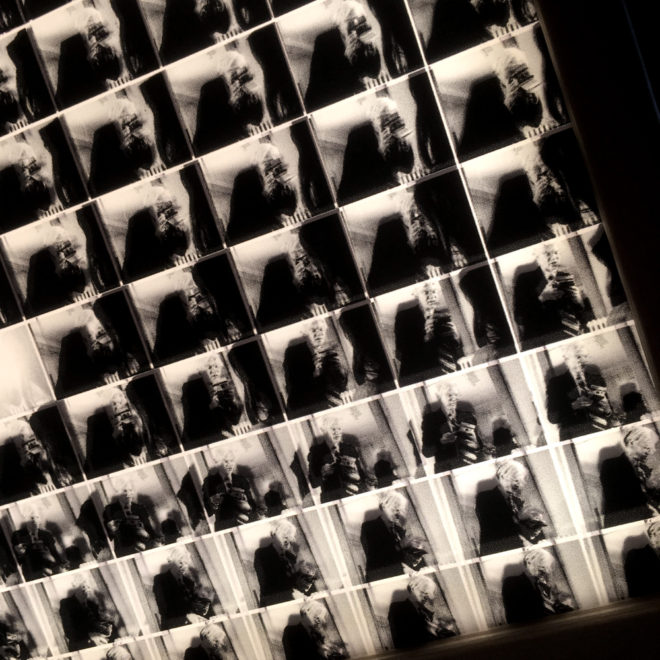 Warhol Shooting Polaroids – Black and White Cinema Grid – 11x9 Led Lightbox by Mini-Cinema (Detail1)