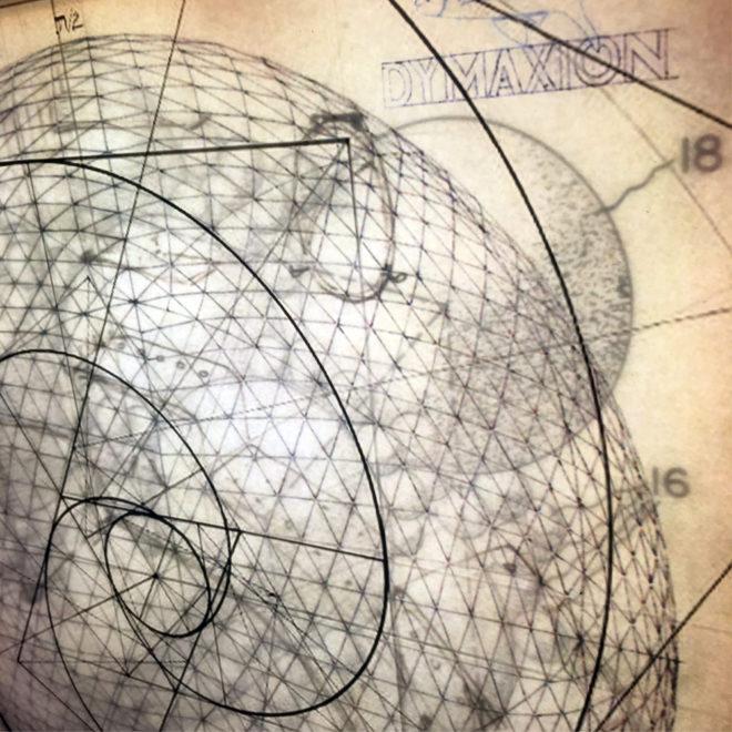 Bucky's Masterplan #3 - Mid Century Architecture Sketches - 12x12 Lightbox by Mini-Cinema (Detail 1)
