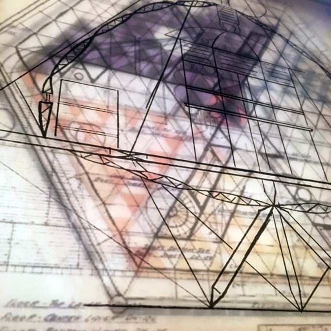 Bucky's Masterplan #2 - Mid Century Architecture Sketches - 12x12 Lightbox by Mini-Cinema (Detail)