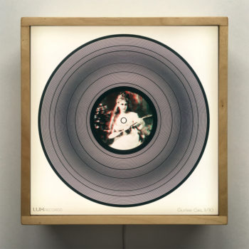 Guitar Girl 11x11 Lightbox - Spinning Lux Records Op Art by Mini-Cinema