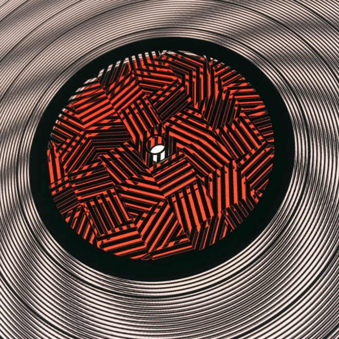 Red Zebras 11x11 Lightbox (Close-Up) - Spinning Lux Records Op Art by Mini-Cinema