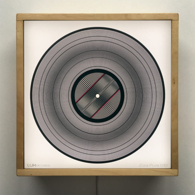 Zone Plate 11x11 Lightbox - Spinning Lux Records Op Art by Mini-Cinema