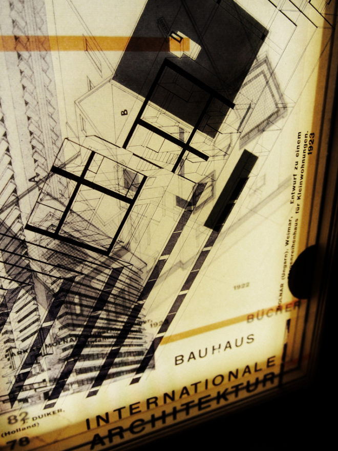 Bauhaus Bucher Architecture Mashup - Multiple Print Depth Effect - 11x9 Led Lightbox by Mini-Cinema (Detail2)