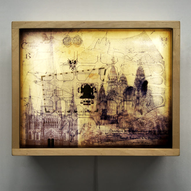 Gaudi Masterplan Architecture Sketches - Multiple Print Depth Effect - 9x11 Lightbox by Mini-Cinema
