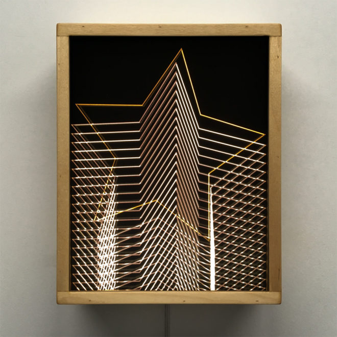 Gold Star Tower – Graphic Line Art Optical Illusion - 11x9 Led Lightbox by Mini-Cinema