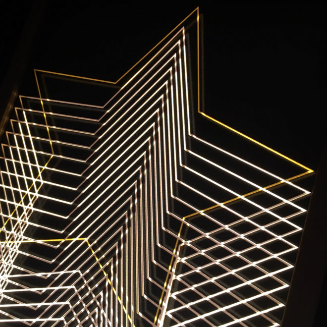 Gold Star Tower – Graphic Line Art Optical Illusion - 11x9 Led Lightbox by Mini-Cinema (Detail)