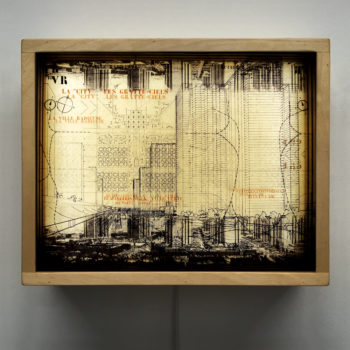 Le Corbusier Masterplan Architecture Sketches - Multiple Print Depth Effect - 9x11 Lightbox by Mini-Cinema
