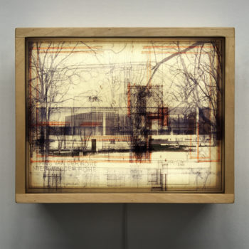 Mies Masterplan Architecture Sketches - Multiple Print Depth Effect - 9x11 Lightbox by Mini-Cinema