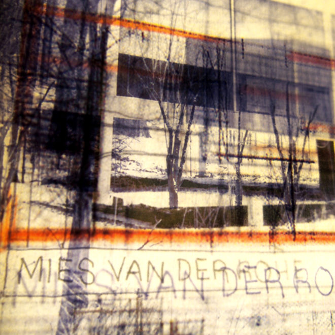 Mies Masterplan Architecture Sketches - Multiple Print Depth Effect - 9x11 Lightbox by Mini-Cinema (Detail1)