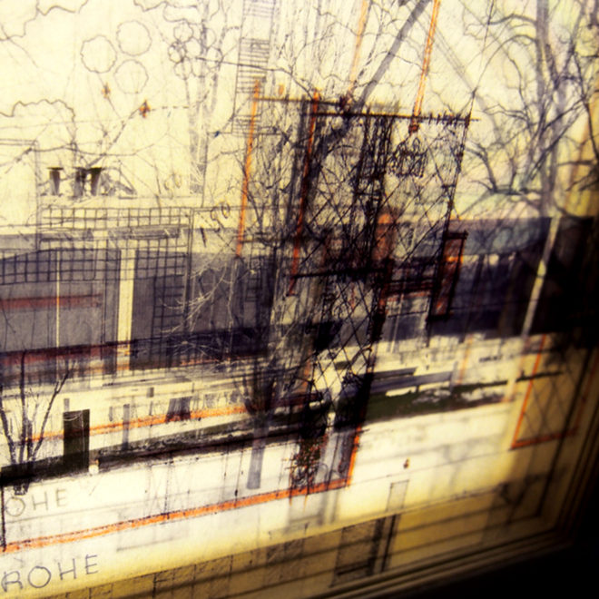 Mies Masterplan Architecture Sketches - Multiple Print Depth Effect - 9x11 Lightbox by Mini-Cinema (Detail2)