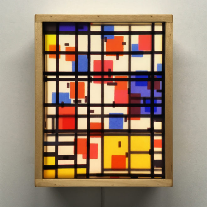 Mondrian Mashup - Multiple Print Depth Effect - 11x9 Led Lightbox by Mini-Cinema