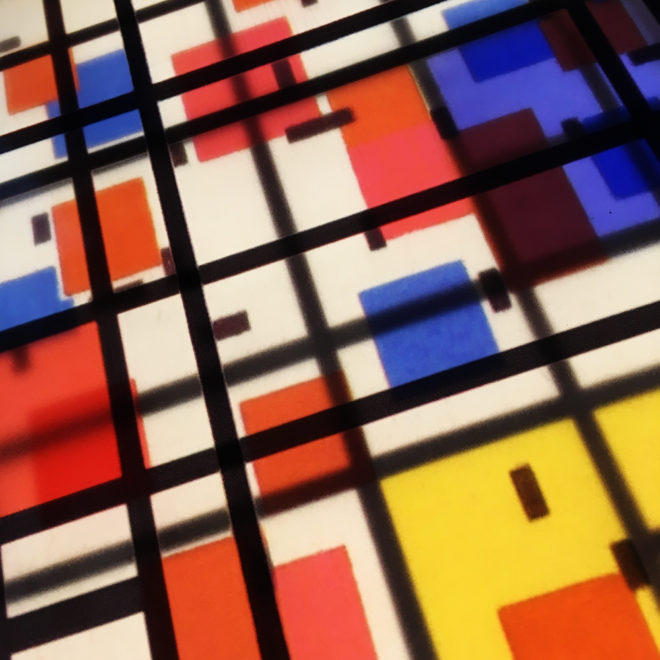Mondrian Mashup - Multiple Print Depth Effect - 11x9 Led Lightbox by Mini-Cinema (Detail1)