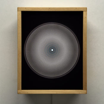 Music Record Blue Side.A – Graphic Line Art Optical Illusion - 11x9 Lightbox by Mini-Cinema